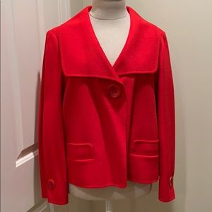 Ellen Tracy Bright Red Wool Short Jacket
